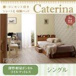 収納ベッド シングル【Caterina】【薄型・軽量ボンネルコイルマットレス付き】フレームカラー:ウォルナットブラウン カバーカラー:さくら ショート丈 棚・コンセント付き収納ベッド【Caterina】カテリーナ