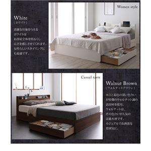 収納ベッド ダブル【Splend】【ポケットコイルマットレス:ハード付き】フレームカラー:ホワイト スリム棚・多コンセント付き・収納ベッド【Splend】スプレンド