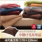 【単品】中掛け毛布 4尺長方形 サニーオレンジ 同色・同素材でそろう! ふんわりなめらか 中掛け毛布