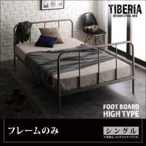 ベッド シングル フッドハイ【Tiberia】【フレームのみ】フレームカラー:シルバーアッシュ デザインスチールベッド【Tiberia】ティベリア - 拡大画像