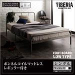 ベッド シングル フッドロー【Tiberia】【ボンネルコイルマットレス(レギュラー)付き】フレームカラー:シルバーアッシュ マットレスカラー:ブラック デザインスチールベッド【Tiberia】ティベリアの画像