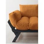 ソファー 2.5人掛け 座面カラー:オレンジ フレームカラー:ダークブラウン 北欧デザイン天然木フレームソファ Lapua ラプア