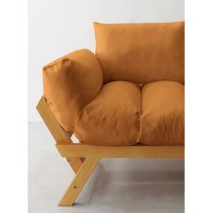 ソファー 2.5人掛け 座面カラー:オレンジ フレームカラー:ナチュラル 北欧デザイン天然木フレームソファ Lapua ラプア - 拡大画像