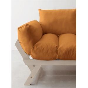 ソファー 2.5人掛け 座面カラー:オレンジ フレームカラー:ホワイト 北欧デザイン天然木フレームソファ Lapua ラプア - 拡大画像