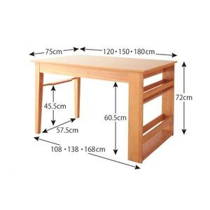 【単品】ダイニングテーブル 幅120-180cm 3段階伸縮テーブル ダイニング humiel ユミル画像5