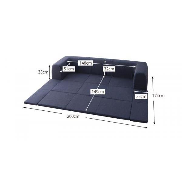 クッションラグマット 小サイズ 200×174cm ブラウン 年中清潔 フロアソファになる洗えるクッションラグのサイズ