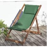 【テーブルなし】チェア(1脚) 座面カラー:グリーン アカシア天然木 リクライニング折りたたみ式ガーデンチェア Resse レッセ