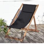 【テーブルなし】チェア(1脚) 座面カラー:ブラック アカシア天然木 リクライニング折りたたみ式ガーデンチェア Resse レッセ