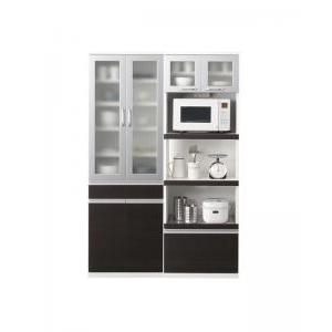 食器棚+キッチンボードセット 幅60cm+幅60cm ダークブラウン 奥行41cmの薄型モダンデザインキッチン収納 Sfida スフィーダ - 拡大画像