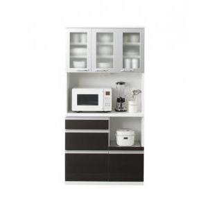 【組立設置費込】キッチンボード 幅90cm ダークブラウン 奥行41cmの薄型モダンデザインキッチン収納 Sfida スフィーダ - 拡大画像