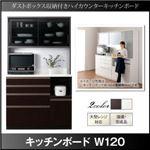 キッチンボード 幅120cm ホワイト ダストボックス収納付きキッチンボード Pranzo プランゾ