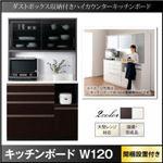 【組立設置費込】キッチンボード 幅120cm ブラウン ダストボックス収納付きキッチンボード Pranzo プランゾ