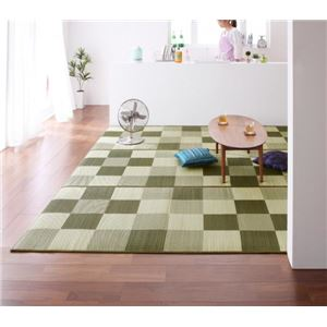 ラグマット 191×250cm【ウレタン12mm】グリーン 厚みが選べる3タイプ 純国産ブロック柄い草ラグ casule カジュール - 拡大画像