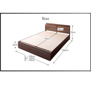収納ベッド ダブル【フレームのみ】フレームカラー:ブラック スリム棚・4口コンセント付き収納ベッド Dublin ダブリン