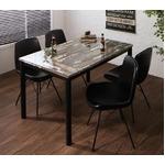 ダイニングセット 5点セット(テーブル+チェア4脚)幅130cm チェアカラー:ブラック(4脚) ヴィンテージデザインガラスダイニング volet ヴォレ