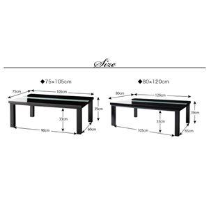 こたつ4点セット 長方形(75×105cm) テーブルカラー:ラスターホワイト 布団カラー:ミッドナイトブルー 鏡面仕上げ アーバンモダンデザインカバー付きこたつセット VADIT CFK バディット シーエフケー