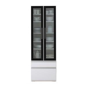 食器棚幅60cmカラー:ハイグロスホワイト完成品大型レンジ対応女性目線でデザインされたおしゃれキッチン収納Ainaアイナ