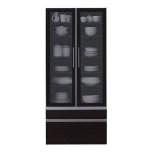 食器棚幅80cmカラー:ウォルナットブラウン完成品大型レンジ対応女性目線でデザインされたおしゃれキッチン収納Ainaアイナ