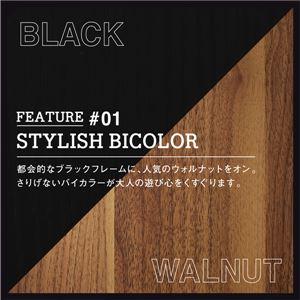 収納ベッド ダブル【フレームのみ】フレームカラー:ブラック×ウォルナット 棚・コンセント付き2杯収納ベッド Wyatt ワイアット