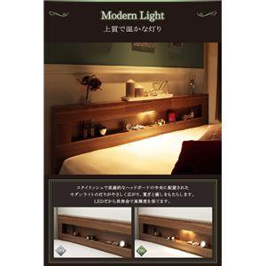 収納ベッド シングル【スタンダードボンネルコイルマットレス付】フレームカラー:ウォルナットブラウン マットレスカラー:ブラック LEDライト・コンセント付き収納ベッド Ultimus ウルティムス