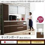キッチンボード 幅100/高さ205cm カラー:ホワイト 大型レンジ対応 ゴミ箱収納付き ハイカウンター90cm OLEGANO オレガノ