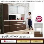 キッチンボード 幅120/高さ205cm カラー:ウォルナット 大型レンジ対応 ゴミ箱収納付き ハイカウンター90cm OLEGANO オレガノ