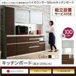 【組立設置費込】キッチンボード 幅100/高さ205cm カラー:ウォルナット 大型レンジ対応 ゴミ箱収納付き ハイカウンター90cm OLEGANO オレガノ