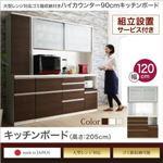 【組立設置費込】キッチンボード 幅120/高さ205cm カラー:ウォルナット 大型レンジ対応 ゴミ箱収納付き ハイカウンター90cm OLEGANO オレガノ