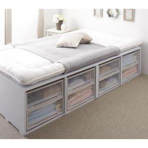 収納ベッド シングル 引き出しなし【薄型スタンダードボンネルコイルマットレス付】フレームカラー:ホワイト 布団で寝られる大容量収納ベッド Semper センペール