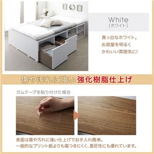 収納ベッド セミダブル 引き出しなし【薄型プレミアムボンネルコイルマットレス付】フレームカラー:ホワイト 布団で寝られる大容量収納ベッド Semper センペール