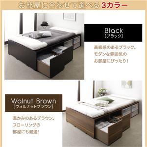 収納ベッド セミダブル 引き出しなし【薄型プレミアムボンネルコイルマットレス付】フレームカラー:ブラック 布団で寝られる大容量収納ベッド Semper センペール