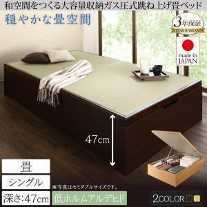 畳ベッド シングル 深さグランド【フレームのみ】フレームカラー:ダークブラウン くつろぎの和空間をつくる日本製大容量収納ガス圧式跳ね上げ畳ベッド 涼香 リョウカ - 拡大画像
