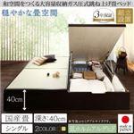 【組立設置費込】畳ベッド シングル 国産畳/深さラージ【フレームのみ】フレームカラー:ナチュラル くつろぎの和空間をつくる日本製大容量収納ガス圧式跳ね上げ畳ベッド 涼香 リョウカ