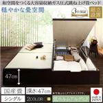 【組立設置費込】畳ベッド シングル 国産畳/深さグランド【フレームのみ】フレームカラー:ダークブラウン くつろぎの和空間をつくる日本製大容量収納ガス圧式跳ね上げ畳ベッド 涼香 リョウカ