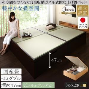 【組立設置費込】畳ベッド セミダブル 国産畳/深さグランド【フレームのみ】フレームカラー:ダークブラウン くつろぎの和空間をつくる日本製大容量収納ガス圧式跳ね上げ畳ベッド 涼香 リョウカ