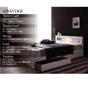 収納ベッド セミダブル  ゼルトスプリングマットレス付 フレームカラー:ホワイト マットレスカラー:グレー LEDライト・コンセント付き収納ベッド Estado エスタード