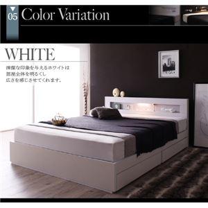 収納ベッド ダブル  ゼルトスプリングマットレス付 フレームカラー:ホワイト マットレスカラー:グレー LEDライト・コンセント付き収納ベッド Estado エスタード
