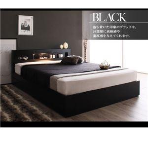 収納ベッド シングル  羊毛入りゼルトスプリングマットレス付 フレームカラー:ブラック  LEDライト・コンセント付き収納ベッド Estado エスタード