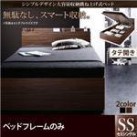 収納ベッド セミシングル 縦開き 深さラージ 【フレームのみ】 フレームカラー:ブラック  シンプルデザイン大容量収納跳ね上げ式ベッド Novia ノービア