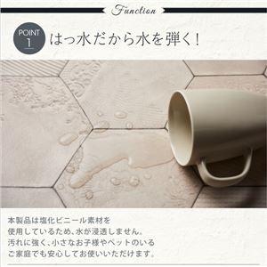 キッチンマット 60×180cm   メインカラー:シャビーアイボリー  拭ける・はっ水 タイル柄シャビーシックマット Lilio リリーオ