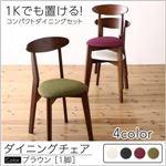 【テーブルなし】 チェア1脚  脚:ブラウン  座面カラー:グリーン  コンパクトダイニング idea イデア の画像