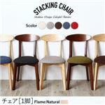 【テーブルなし】 チェア  脚:ナチュラル  座面カラー:レッド  豊富なバリエーションから選べる スタッキング機能付き チェア Milky ミルキー の画像