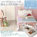 【組立設置費込】 収納ベッド シングル 横開き 深さラージ/ショート丈 【フレームのみ】 フレームカラー:ホワイト コンパクトな跳ね上げ式収納 ベッド Avari アヴァリ