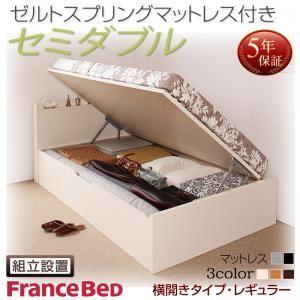 組立設置付 国産跳ね上げ収納ベッド Freeda フリーダ ゼルトスプリングマットレス付き 横開き シングル 深さレギュラー
