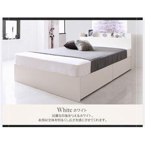 【組立設置費込】 収納ベッド セミダブル すのこ仕様  【ゼルトスプリングマットレス付】 フレームカラー:ホワイト マットレスカラー:グレー 国産 棚・コンセント付き収納ベッド Fleder フレーダー