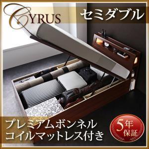 お客様組立 モダンライトコンセント付き・ガス圧式跳ね上げ収納ベッド Cyrus サイロス