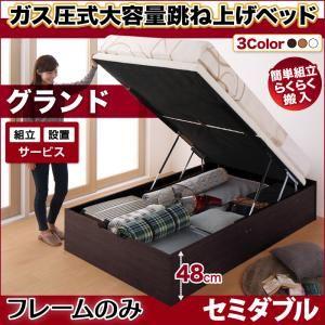 【組立設置費込】跳ね上げ収納ベッド 【縦開き】セミダブル 深さグランド【フレームのみ】フレームカラー:ダークブラウン 組立設置付 簡単組立らくらく搬入ガス圧跳ね上げ収納ベッド Mysel マイセル