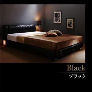 すのこベッド ダブル 【プレミアムポケットコイルマットレス付】 フレームカラー:ブラック 寝具カラー:ブラック ライト・コンセント付きモダンデザインベッド Vesal ヴェサール
