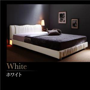 すのこベッド ダブル 【プレミアムポケットコイルマットレス付】 フレームカラー:ホワイト 寝具カラー:ブラック ライト・コンセント付きモダンデザインベッド Vesal ヴェサール