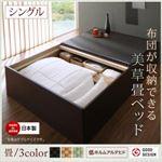 お客様組立 ベッド シングル 【フレームのみ】 フレームカラー:ダークブラウン 畳カラー:グリーン お客様組立 布団が収納できる・美草・小上がり畳ベッド